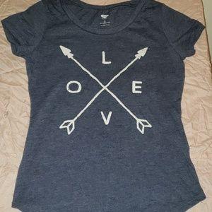 Old Navy Girl's Graphic Tee Love Arrows Blue EUC